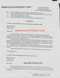 1st year English letters notes