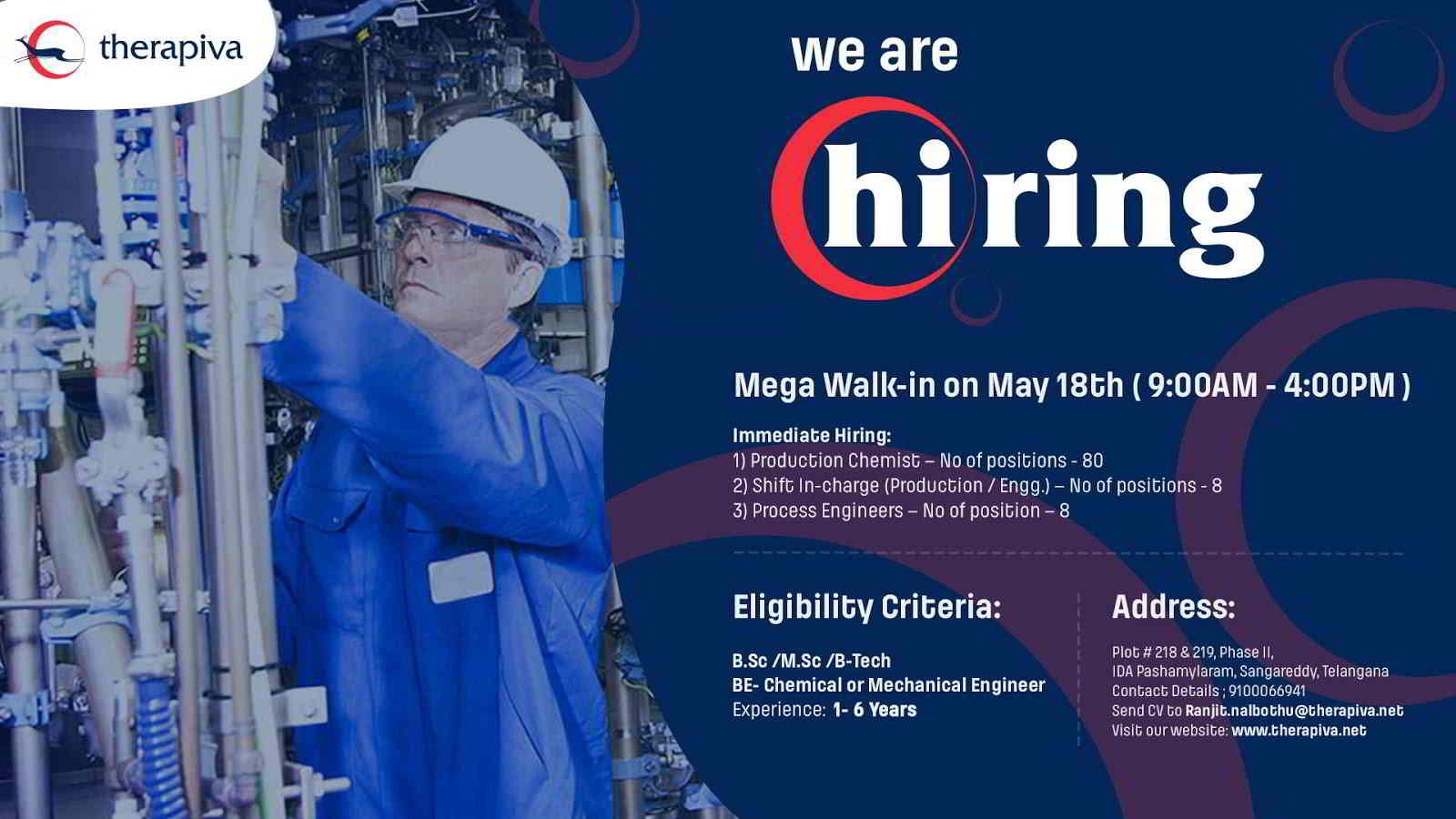 Therapiva Pvt Ltd - Mega Walk-in drive for multiple positions on