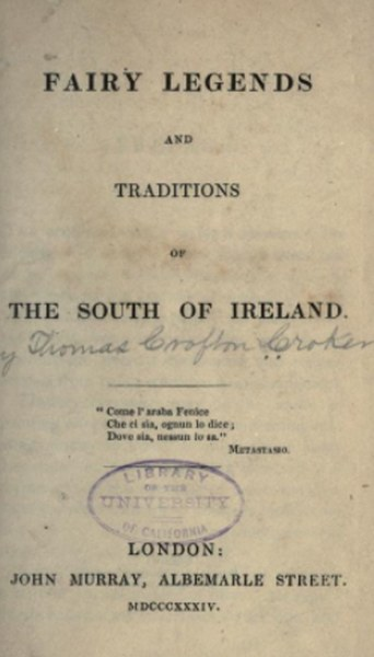 Fairy Legends and Traditions of the South of Ireland Book by Thomas Crofton Croker in pdf
