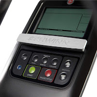 Schwinn 411 console, image, with high-contrast LCD screen. Displays time, speed, distance, heart-rate & calories burned