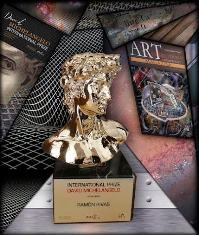 """Escultura del Premio Internacional """"David Michelangelo"""", concedido a Ramón Rivas (Rivismo / Spain)"""