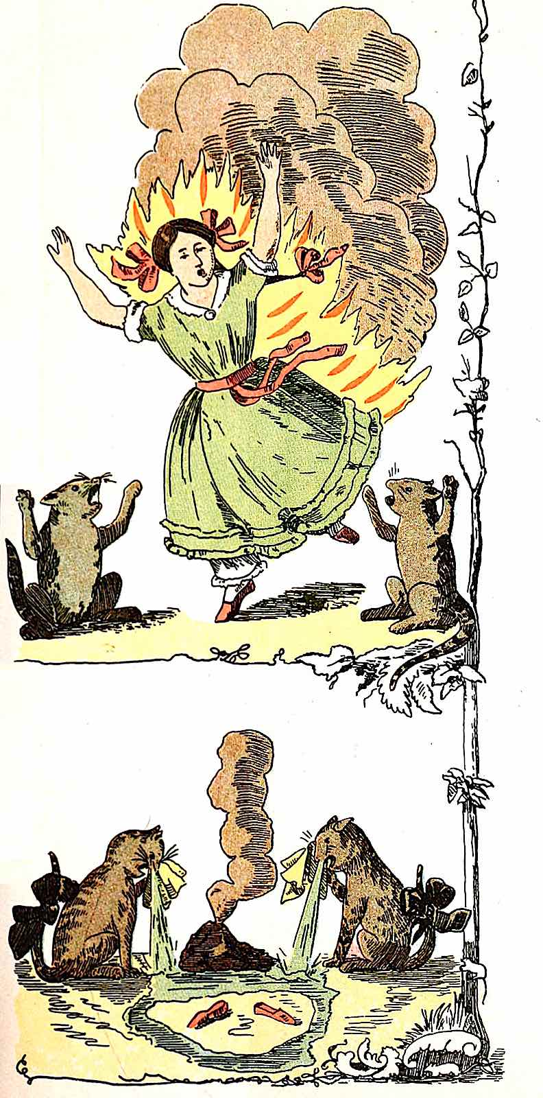 a 1903 schoolbook illustration about fire safety in the home
