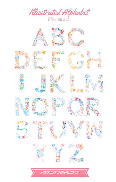 Watercolor Illustration Alphabet - Hand Drawn Printable ABC cards, nursery decor, wall art, etsy evydraws