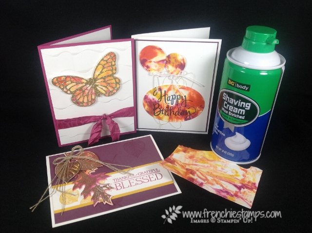 Shaving Cream Cards,  Facebook Live, Bold Butterfly Framelits, butterflies thinlits, Vintage Leaves, Stylized Birthday,