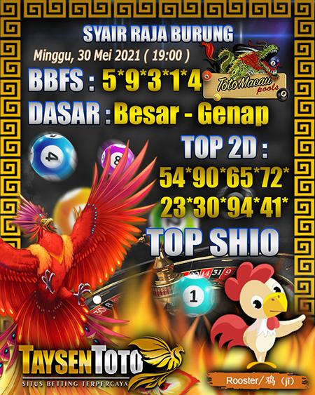 Syair Raja Burung Toto Macau Minggu 30 Mei 2021