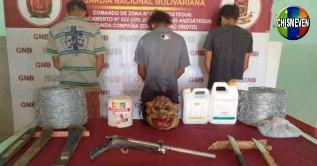 Detenidos en La Ceiba de Onoto por secuestrar a una familia