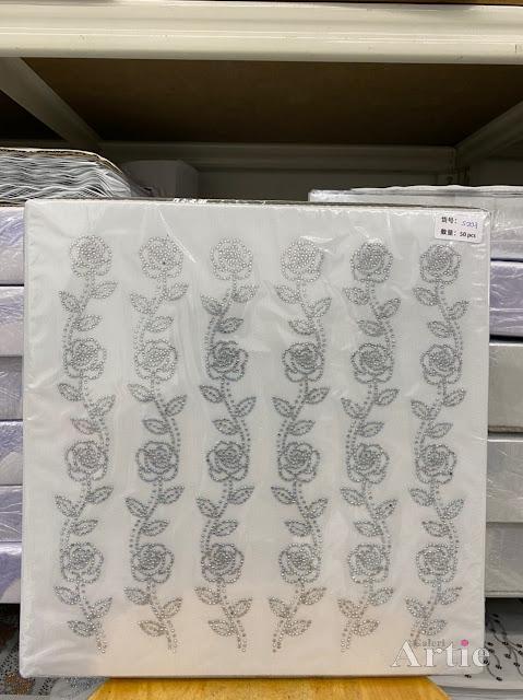 Sticker hotfix rhinestone DMC 6 jalur aplikasi tudung, bawal & fabrik pakaian motif bunga raya
