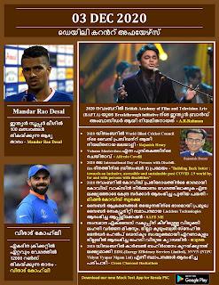 Daily Malayalam Current Affairs 03 Dec 2020