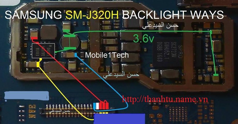 j320 mất đèn màn hình