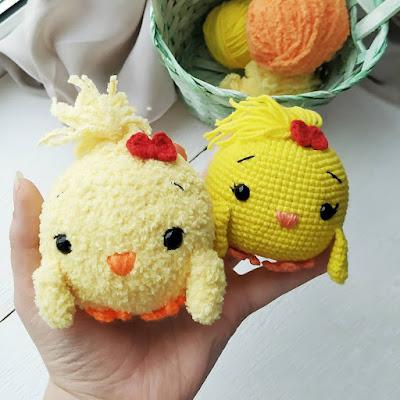 Вязаные цыплята амигуруми