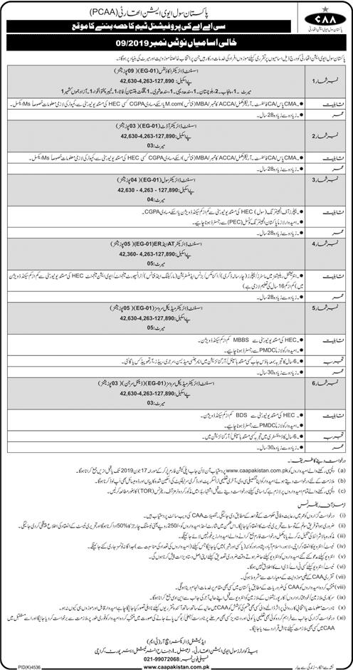 Jobs In Pakistan Civil Aviation Authority CAA Jun 2019
