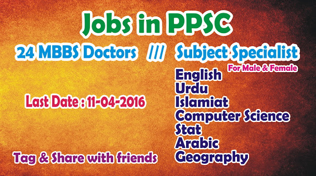 MBBS Doctors & Subject Specialist Jobs in PPSC