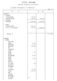 第5期活動計算書・貸借対照表