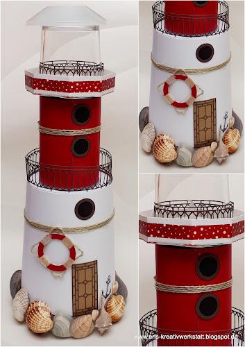 Maritimer Leuchtturm zum verschenken aus recycelten Dosen + Stampin' Up! www.eris-kreativwerkstatt.blogspot.de
