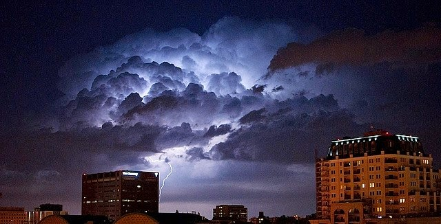 Thunderstorm over Denver at night