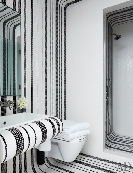 Modern guest bathroom black and white striped Bisazza mosaic tile