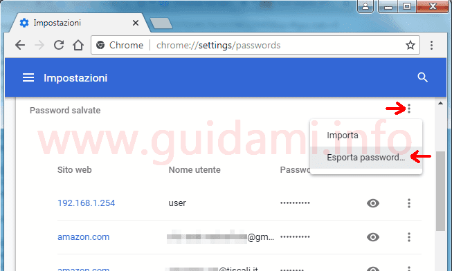 Gestore password di Google Chrome