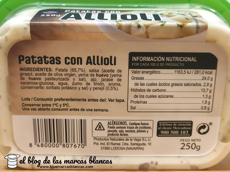 Ingredientes y valores nutricionales de las patatas con allioli Hacendado de Mercadona en El Blog de las Marcas Blancas.