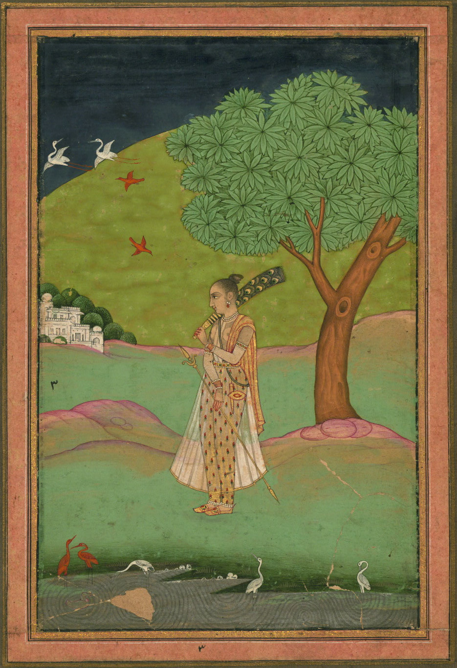 Unidentified Ragini, An Indian Woman, Holding a Fan, at a Pond - Miniature Painting, Deccan School, Ragamala Series, 19th Century