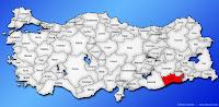 Mardin ilinin Türkiye haritasında gösterimi