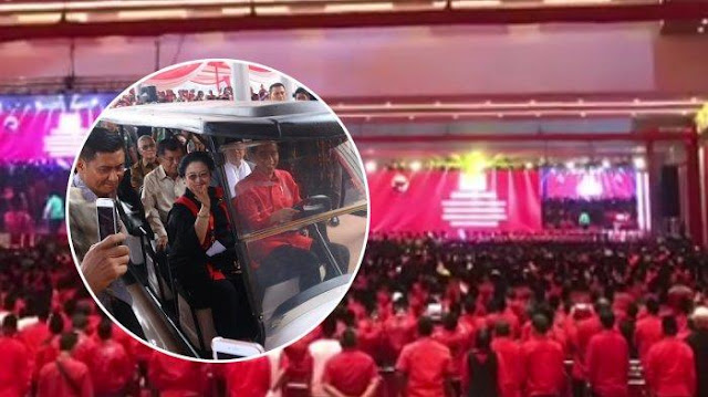 Kelakuan Jokowi di HUT Ke 46 PDI Perjuangan jadi Sorotan, Kendarai Mobil Golf hingga Hentikan Pidato