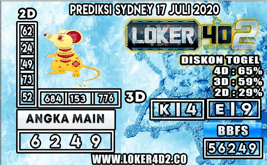 PREDIKSI TOGEL LOKER4D2 SYDNEY 17 JULI 2020