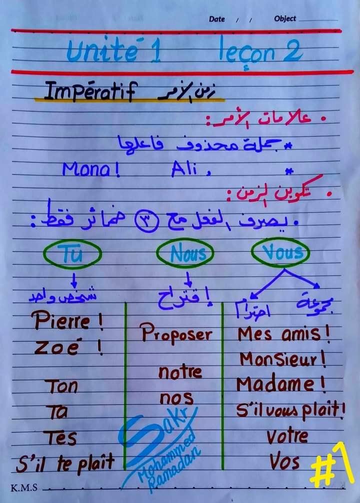 مراجعة لغة فرنسية للصف الثانى الثانوى ترم ثاني مسيو محمد رمضان 10