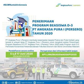 Pengumuman Seleksi Penerimaan Program Beasiswa PT Angkasa Pura I (Persero)