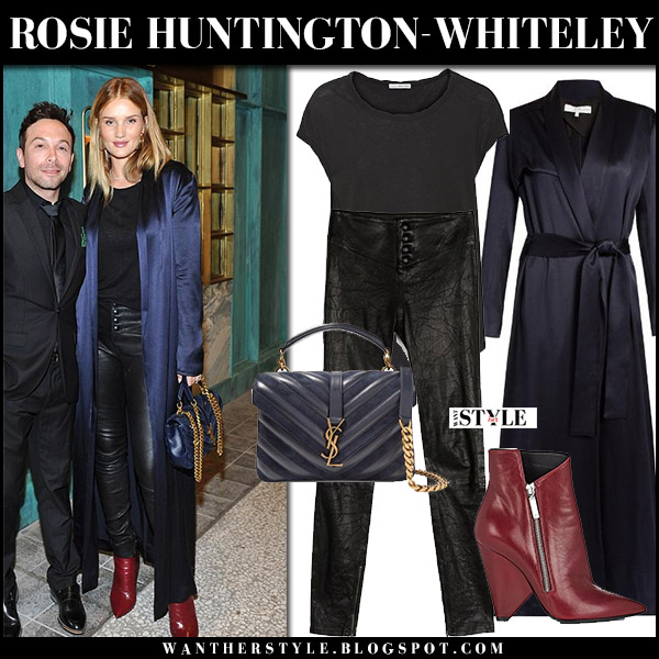 Rosie Huntington-Whiteley in blue satin galvan coat, black leather paige pants, red boots with blue bag saint laurent college september 27 2017 fashion model style