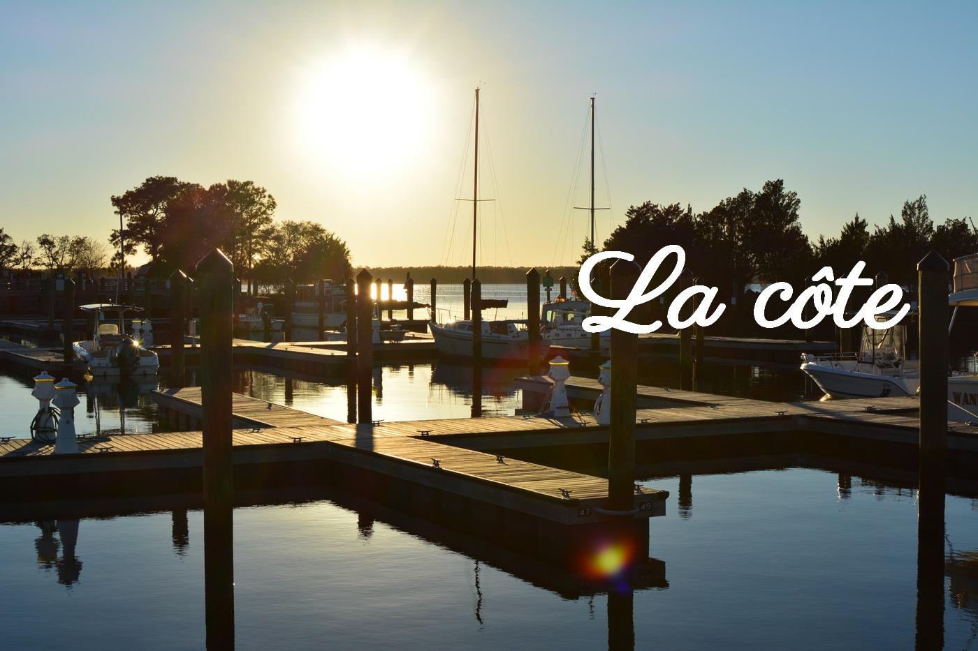 coucher de soleil sur la côte de Caroline du Nord