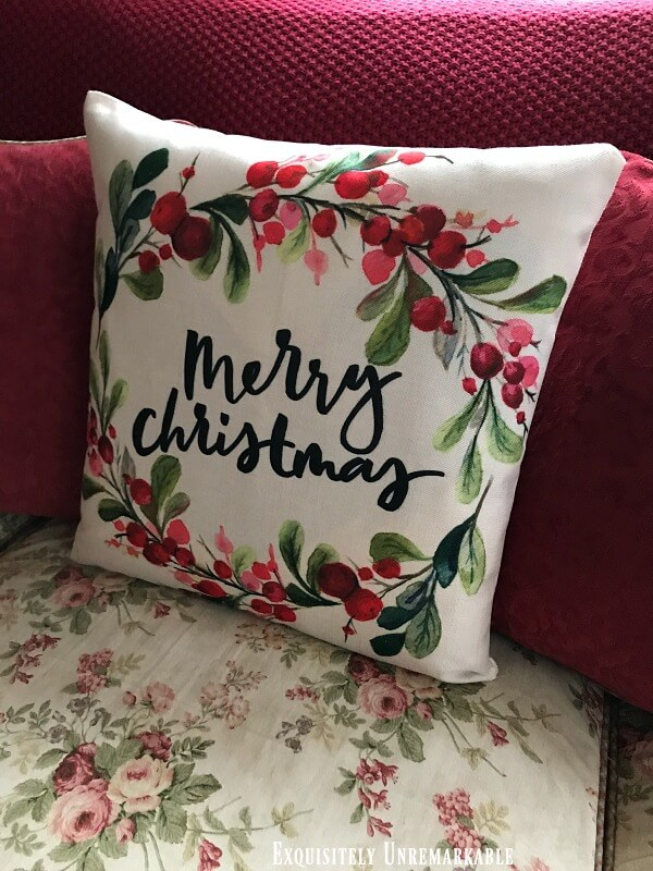 Merry Christmas Garland and Berry Pillow Cover