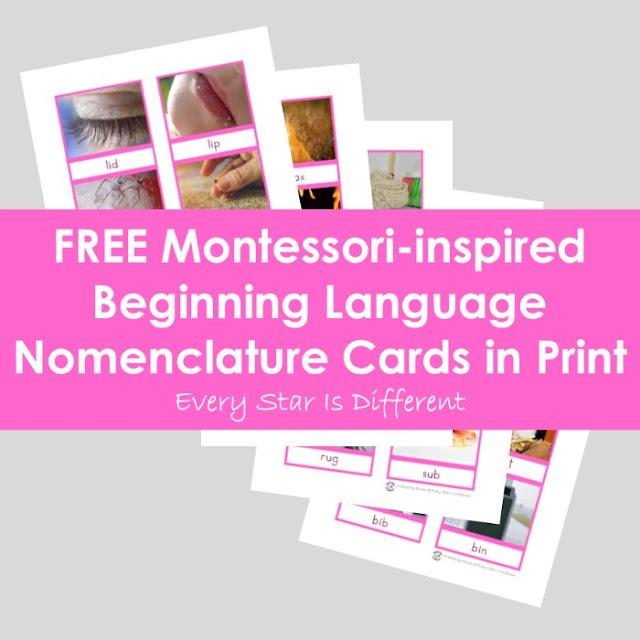 Montessori-inspired Begining Language Nomenclature Cards in Print (Free Printable)