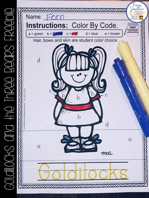Goldilocks and the Three Bears Kindergarten Week 3 Small Group & Centers Freebie #FernSmithsClassroomIdeas
