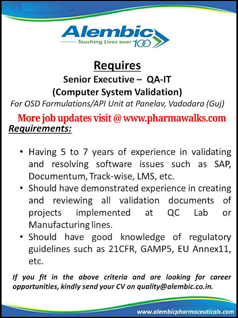 Job Openings for Sr. Executive in QA - IT (Computer System Validation) @ Alembic Pharmaceuticals