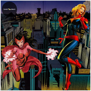 An exclusive poster of Captain Marvel versus Scarlet Witch by Igor11 Comics.