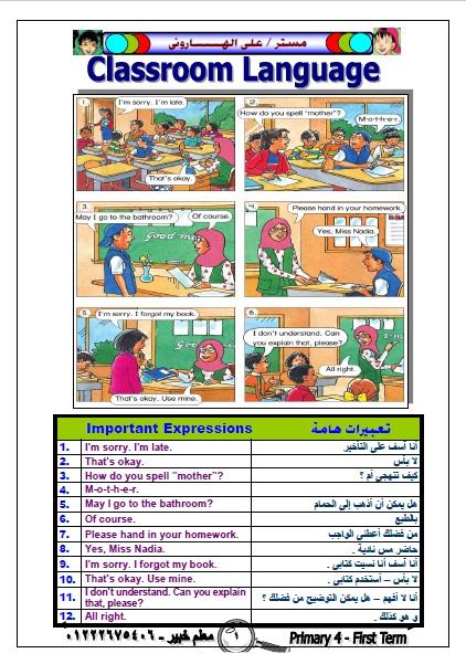 مذكرة انجليزي للصف الرابع الابتدائي الترم الثاني 2021