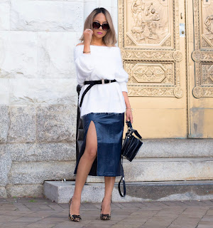 pencil skirt paired with off the shoulder sweater