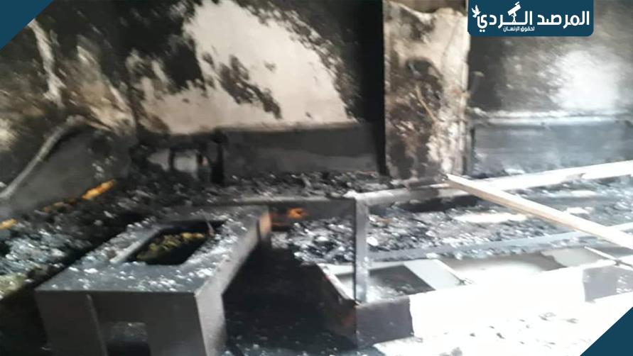 الميليشات الإرهابية التابعة لتركيا تضرم النار في بيت مواطن بعد اخلائه في عفرين