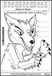 Atividade alfabetização folclore Lobisomem