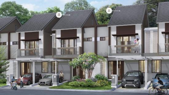 tampak depan rumah minimalis ukuran 7x15 meter 4 kamar tidur 2 lantai