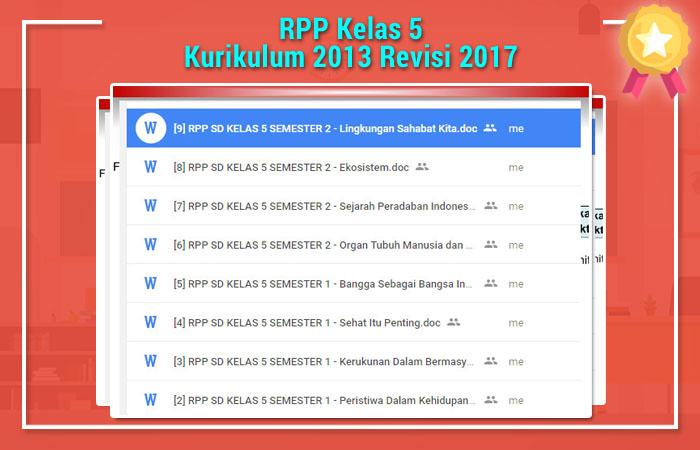 RPP Kelas 5 Kurikulum 2013 Revisi 2017