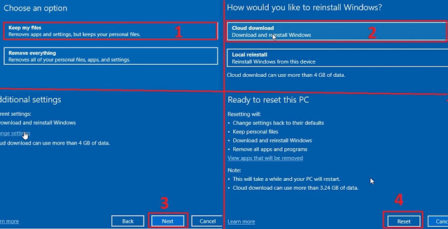 شرح خاصية windows 10 cloud download ميزة خرافية فورمات الكمبيوتر دون usb أو dvd و دون فقدان الملفات