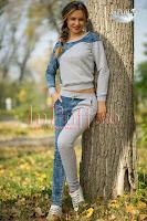 Trening bumbac gri si insertii din blug (Escape Star Jeans)