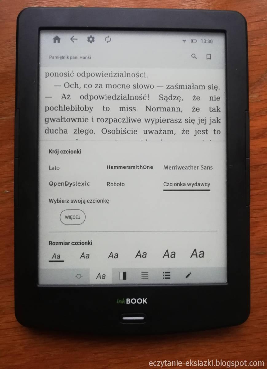 InkBOOK LUMOS – ustawienia czcionki w aplikacji inkReader