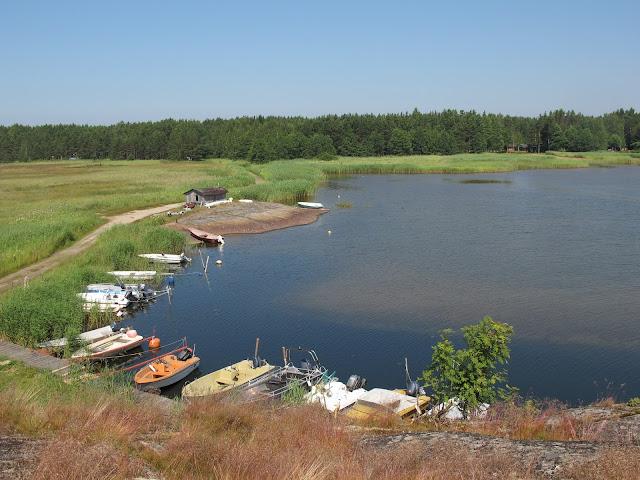 Kuva Täktominlahden venesatamasta, jossa on laituriin kiinnityneenä sekä soutu- että moottoriveneitä. Rannoilla kasvaa järviruokoa.