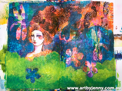 Art by Jenny James, mixed media collage of girl with a dragonfly using Jane Davenport printed napkins
