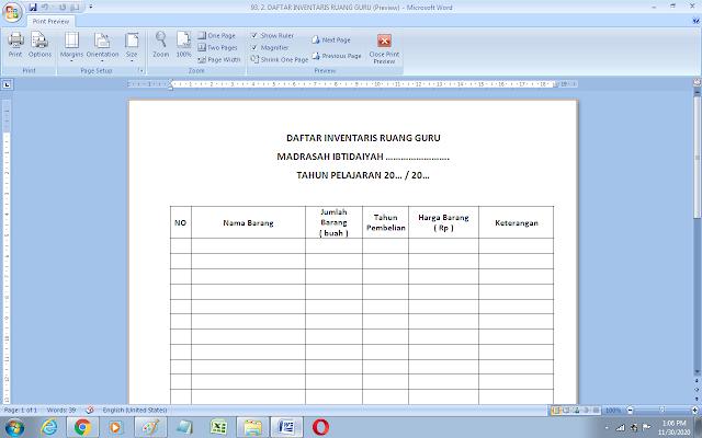 Format daftar inventaris ruang guru