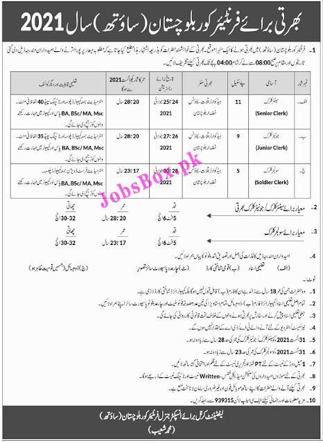 Frontier Corps FC Balochistan South Jobs 2021 Latest Recruitment