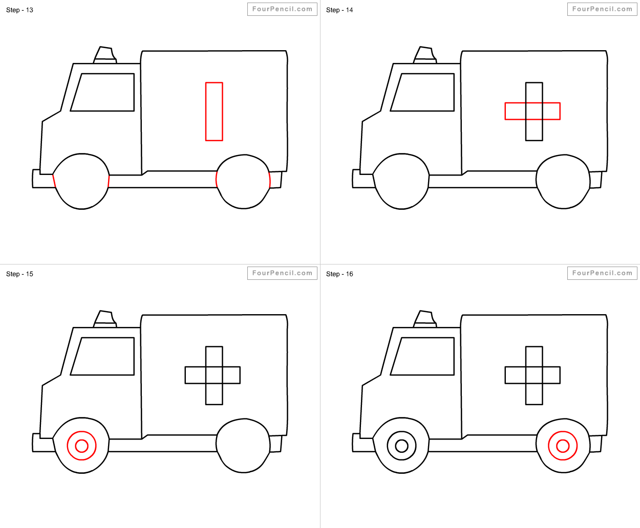 Fpencil: How to draw Ambulance for kids step by step