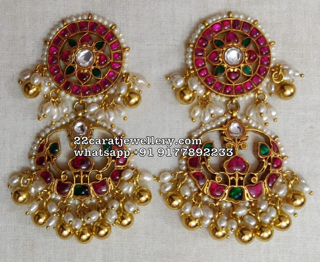 Kundan Earrings and Hoops in 925 SIlver